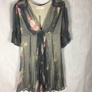 TopShop lined grey chiffon dress size medium